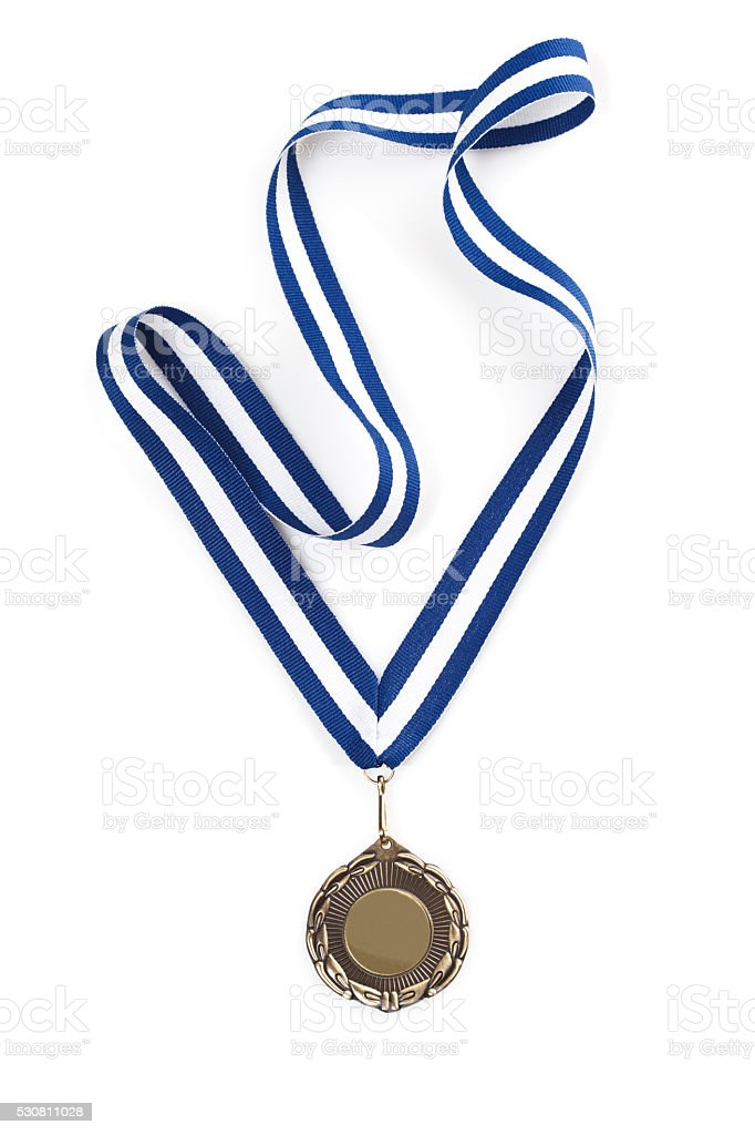 Bronze  medal with blue ribbon stock photo