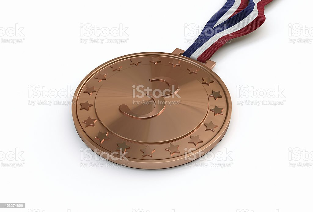 Bronze medal with number stock photo