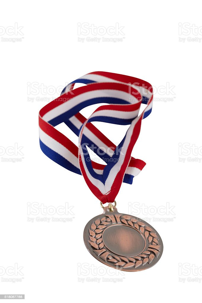 Bronze Medal With Red Blue & White Lanyard stock photo