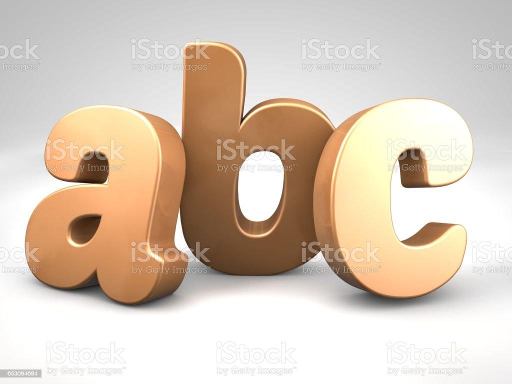 bronze metal abc alphabet letters 3d render illustration stock photo