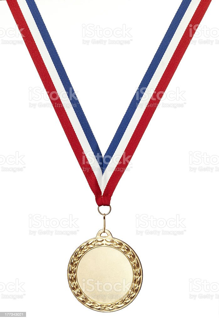 Bronze olympics medal blank with clipping path royalty-free stock photo