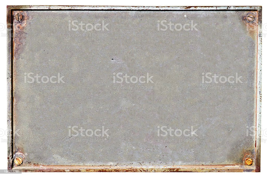 Bronze Plaque Or Plate Isolated On White stock photo