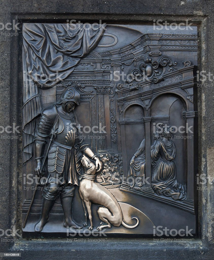 Bronze plate of King Wenceslas IV with a dog stock photo