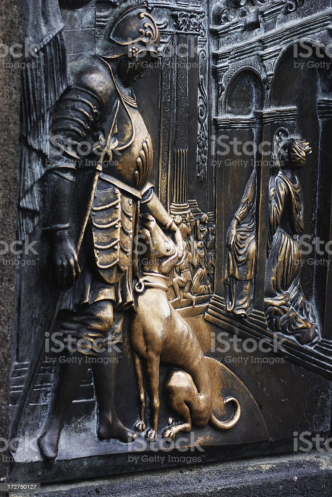 Bronze relief of St Wenceslas weathered by touch stock photo