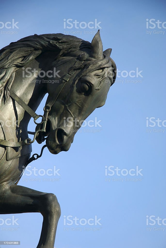 Bronze Sculpture of Horse Blue Sky royalty-free stock photo