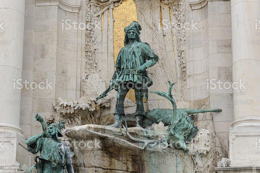 Bronze sculpture of Matthias Corvinus stock photo