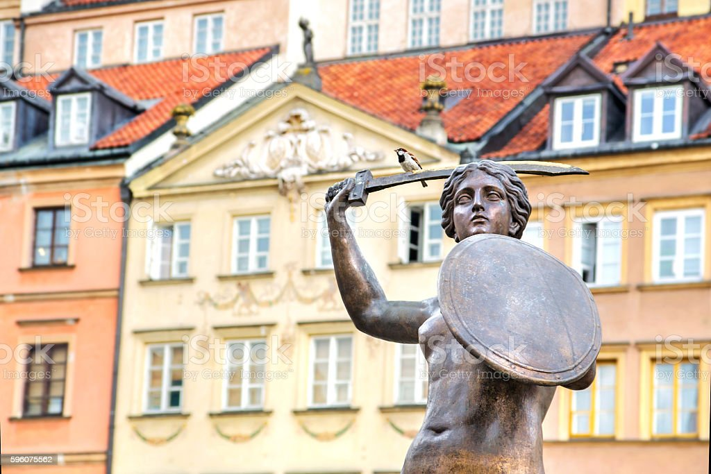 Bronze sculpture of Mermaid in Warsaw Old Town stock photo