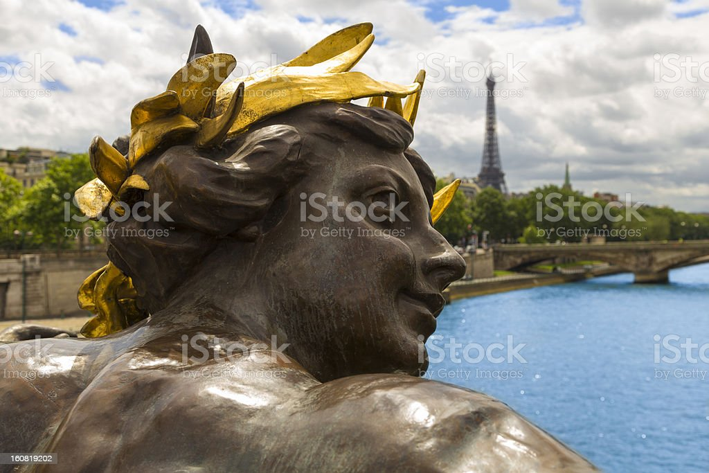 Bronze Sculpture of Pont Alexander III and Eiffel Tower, Paris royalty-free stock photo
