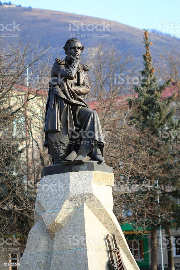 Bronze sculpture to famous Russian poet Lermontov. Pyatigorsk, R stock photo