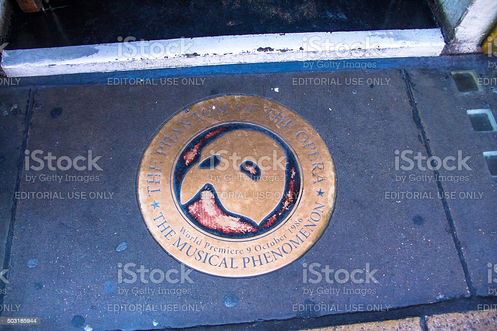 Bronze sign 'The Phantom of the opera'. London. UK stock photo