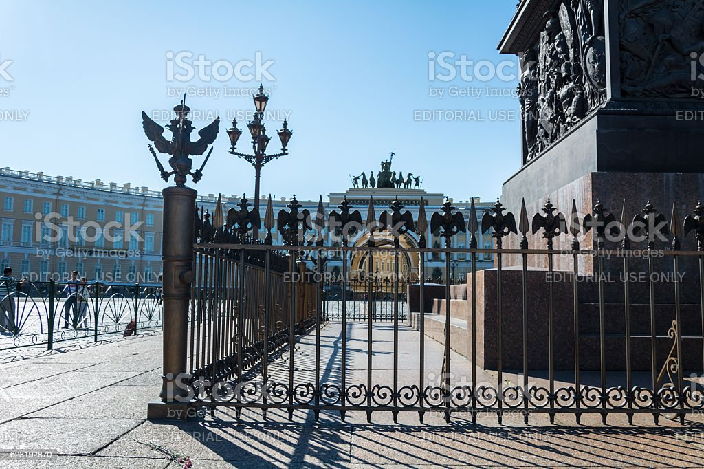 Bronze State two-headed eagle on the fence stock photo