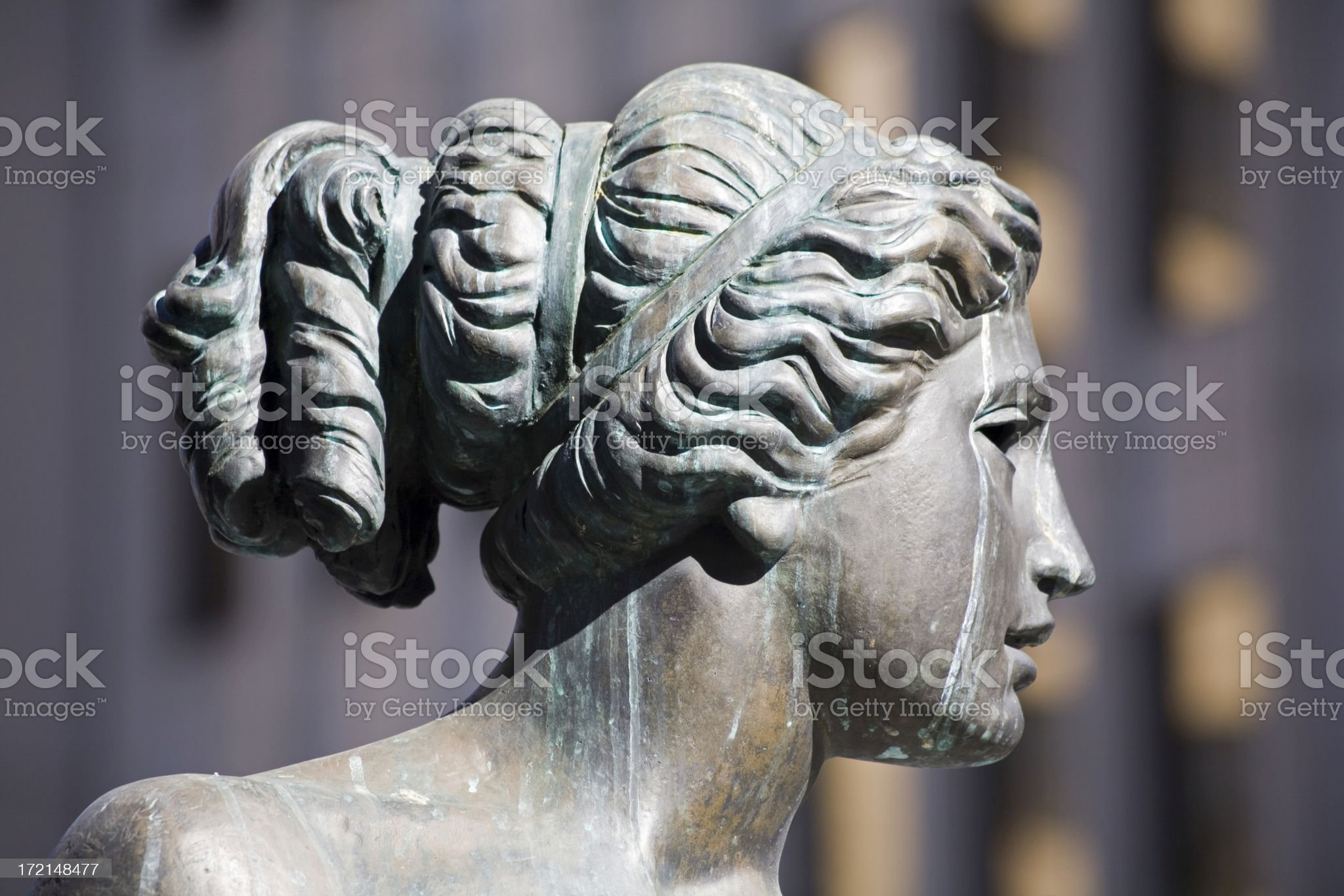 bronze statue downtown royalty-free stock photo