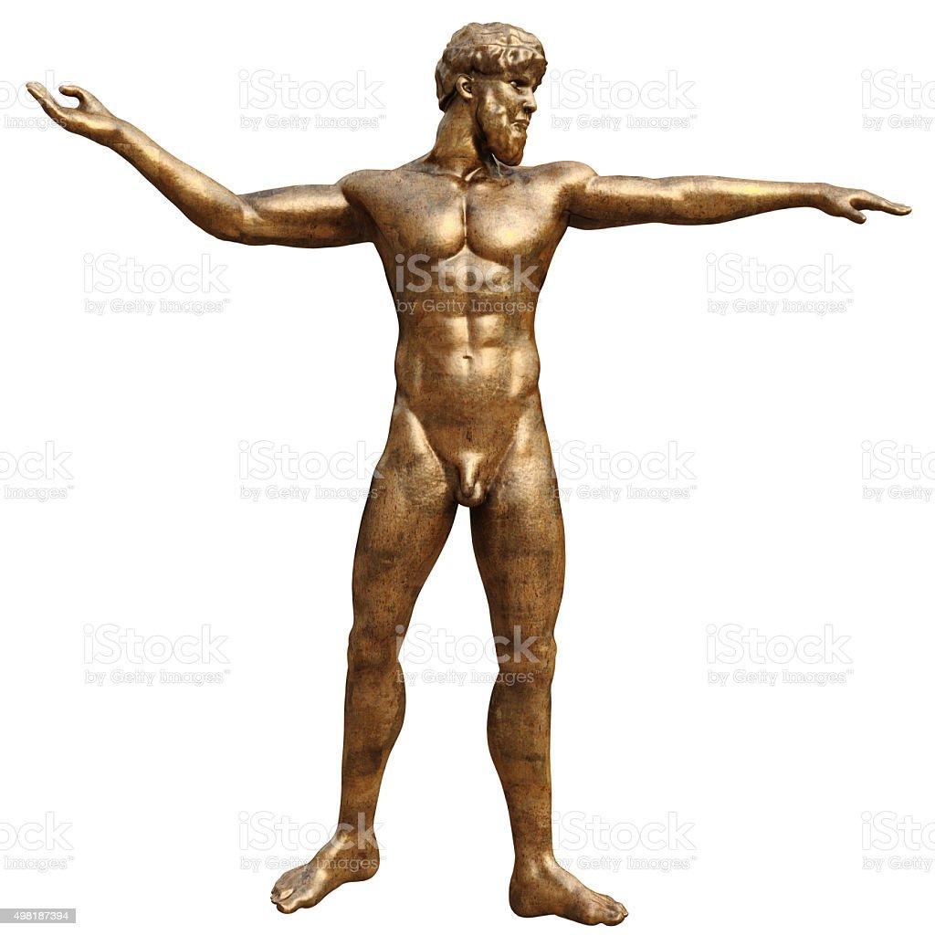 Bronze statue man, front view stock photo