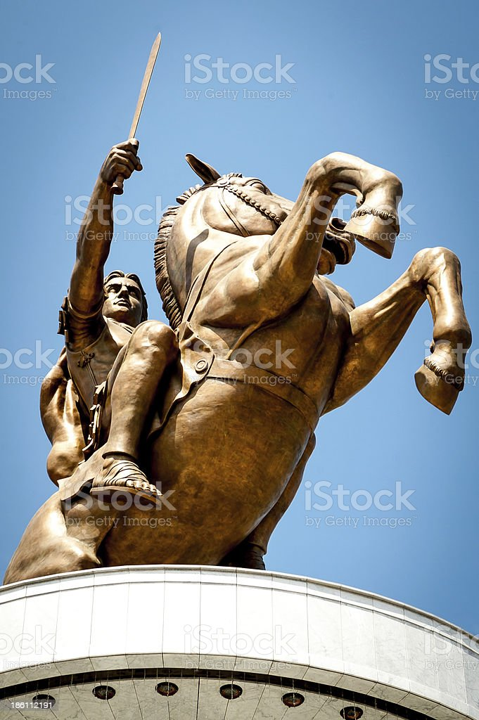 Bronze statue of Alexander the Great on a rearing horse stock photo