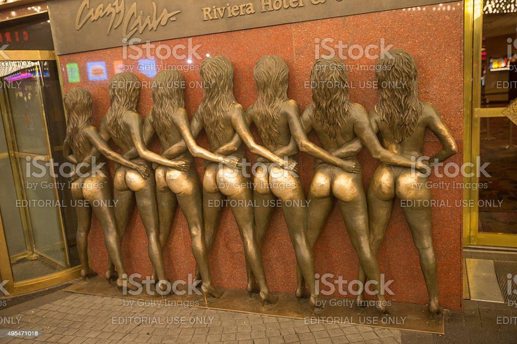 Bronze Statue of  Crazy Girls in Las Vegas stock photo