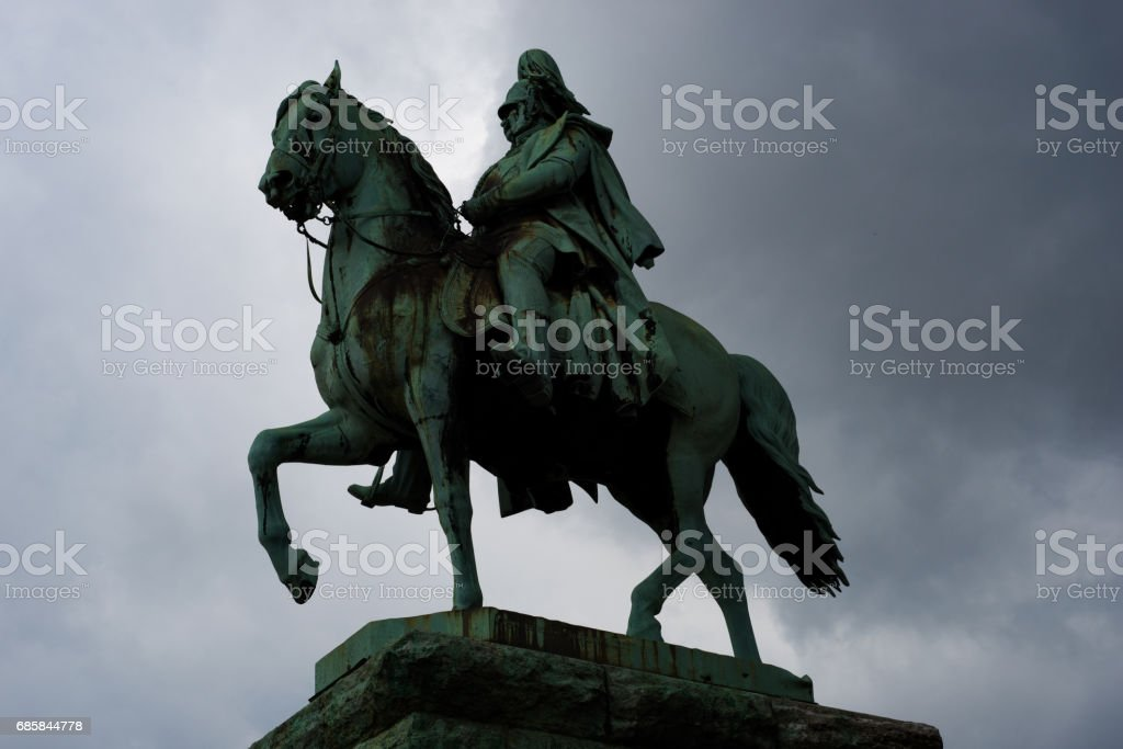 Bronze statue of emperor Wilhelm I on horse in Cologne stock photo