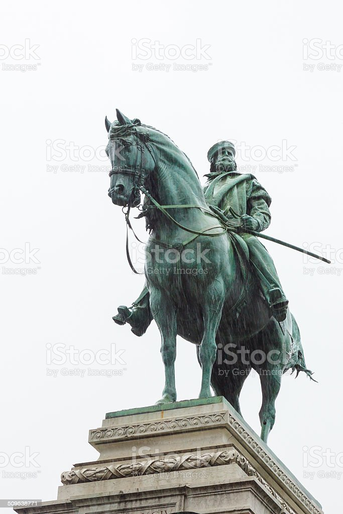 Bronze statue of Garibaldi on horse in Milan under rain stock photo
