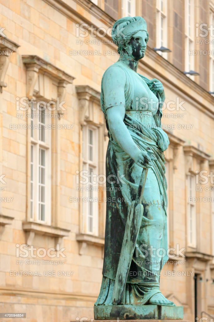 bronze statue of Nemesis in Copenhagen stock photo
