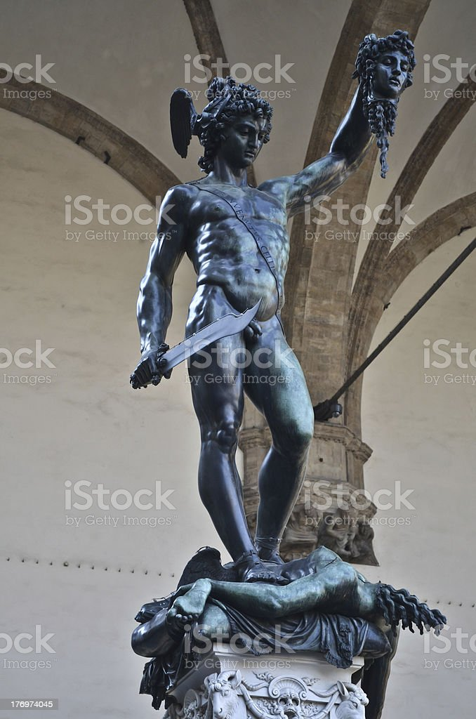 Bronze statue of Perseus royalty-free stock photo