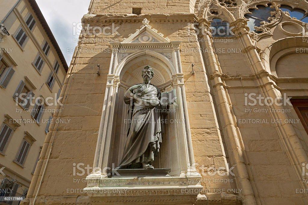 Bronze statue of Saint Matthew, Orsanmichele church, Florence stock photo