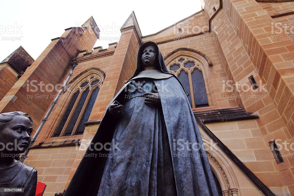 bronze statue of St Mary at St Mary Cathedral stock photo