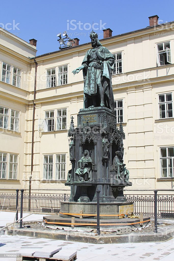 Bronze Statue of the King Charles IV. in Prague royalty-free stock photo