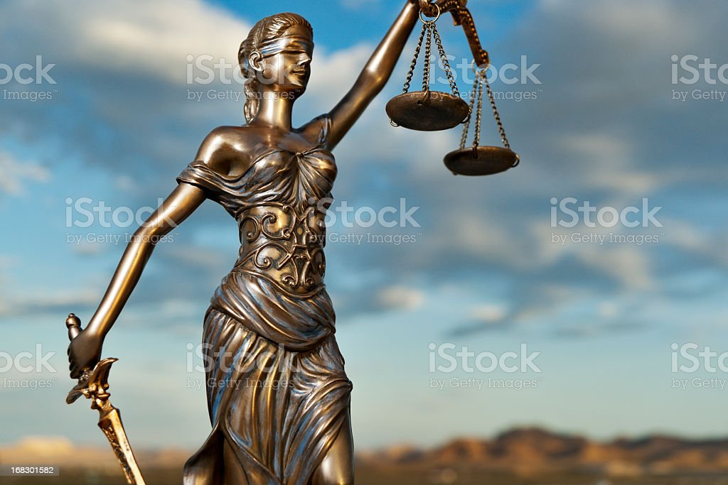 Bronze statue of Themis, goddess of justice stock photo