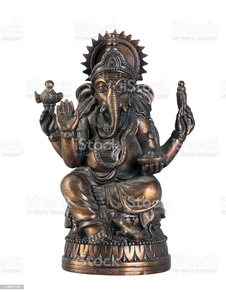 Bronze statuette of hindu God Ganesha isolated on white background royalty-free stock photo