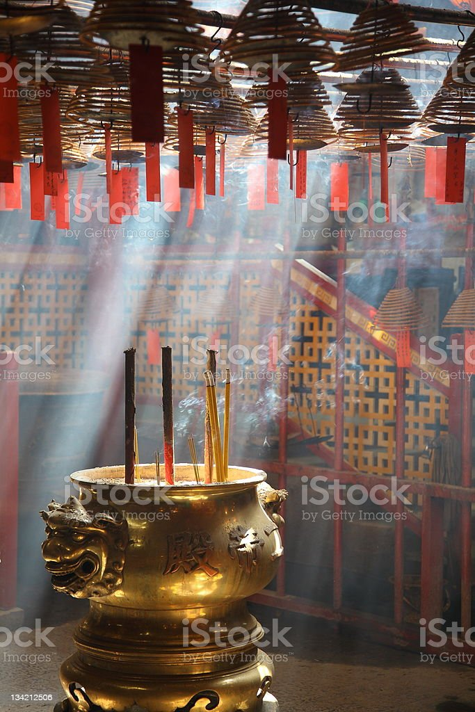 Bronze tripod in a Chinese temple, Hong Kong, China royalty-free stock photo