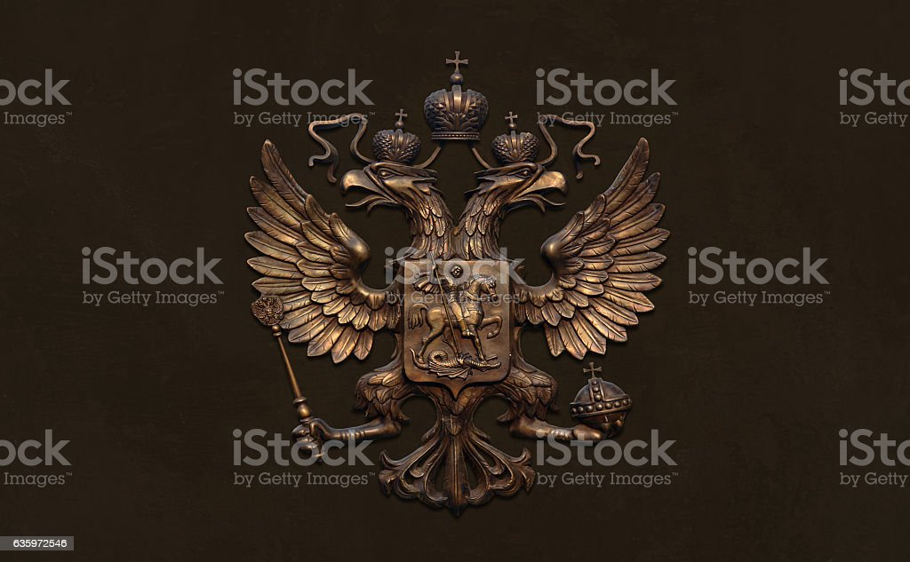 Bronze two chapters eagle, emblem of Russia. stock photo