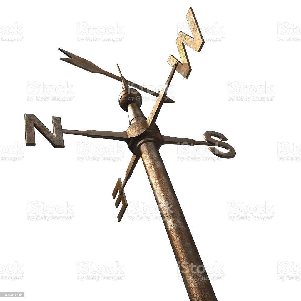 Bronze weathervane post with top arrow stock photo