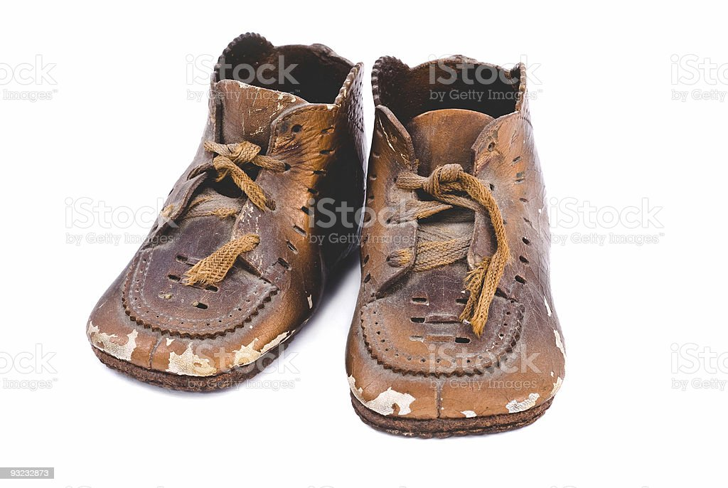 Bronzed baby shoes stock photo