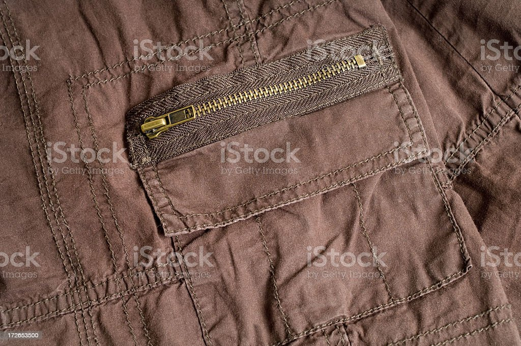 Bronzed Zipper on Pocket royalty-free stock photo