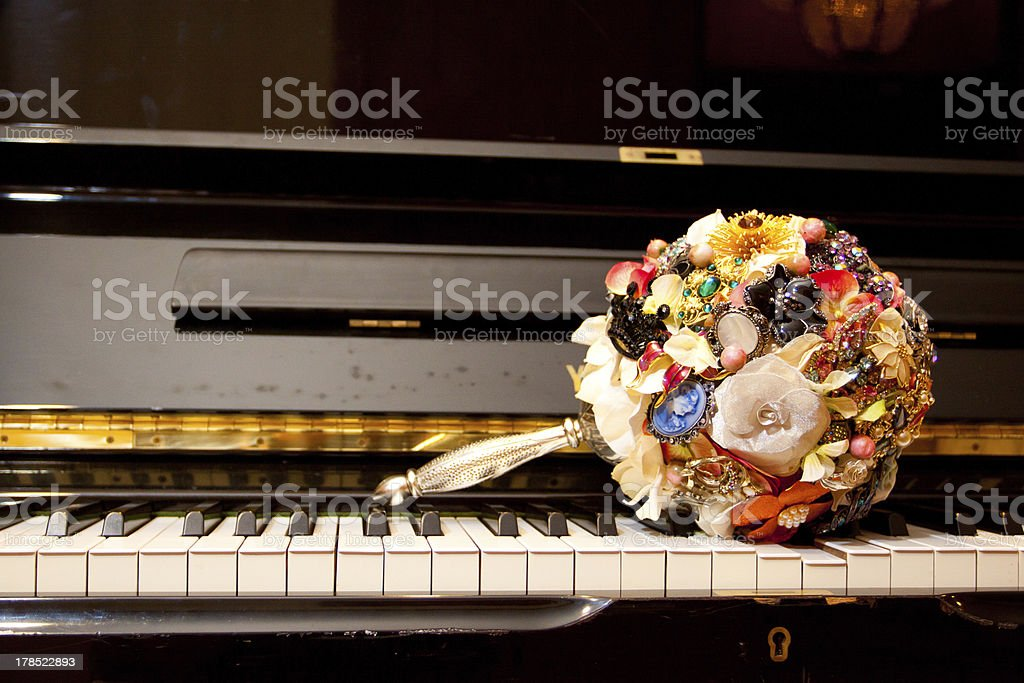 Brooch Bouquet on Piano stock photo