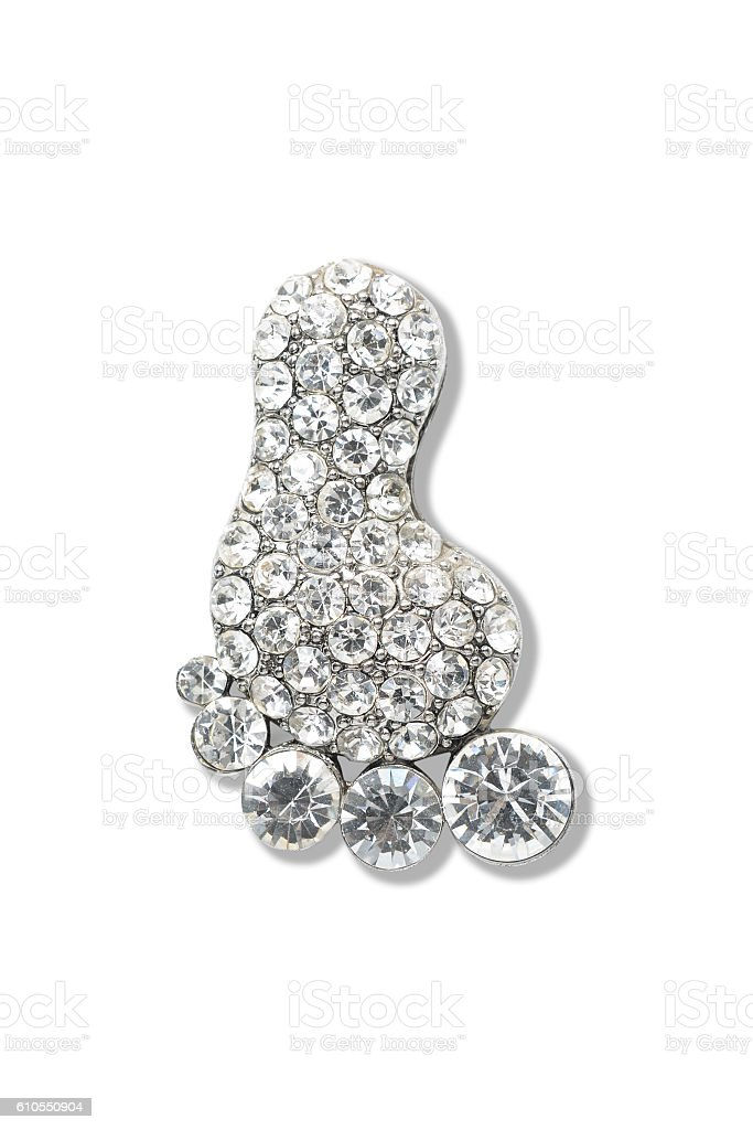 brooch foot isolated on white stock photo