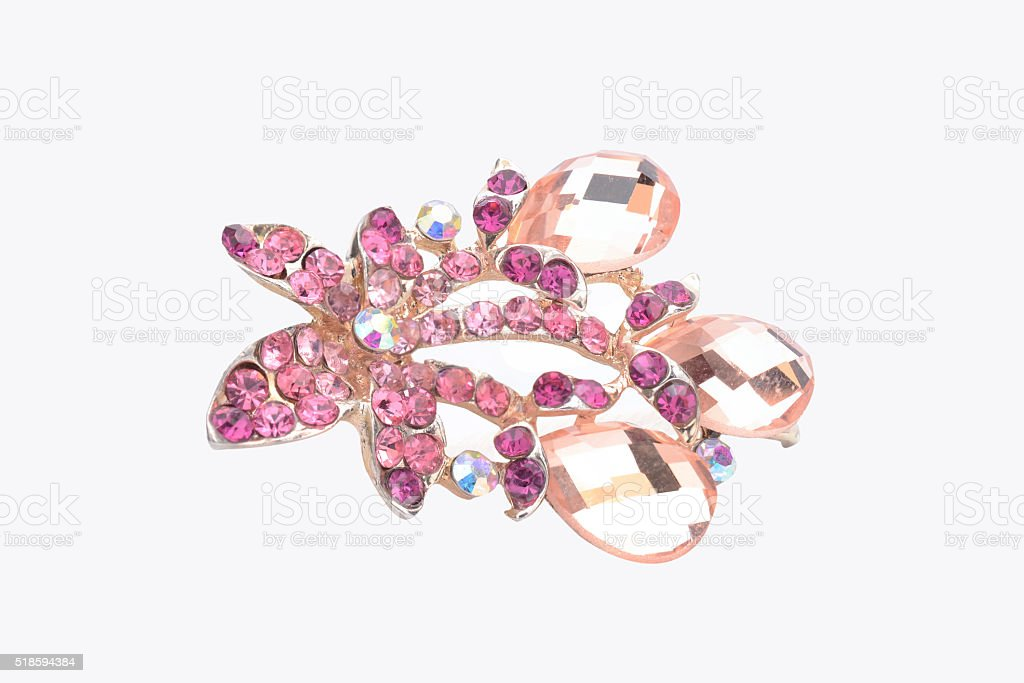 brooch with pink flower isolated on white stock photo