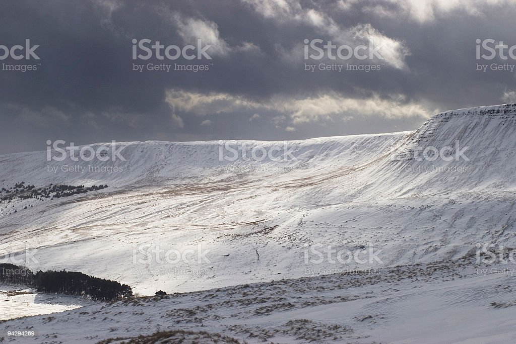 Brooding clouds over winter landscape royalty-free stock photo