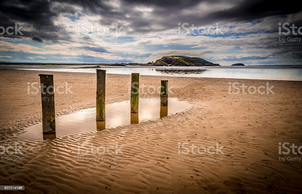 Brooding skies over Weston-Super-Mare sands stock photo