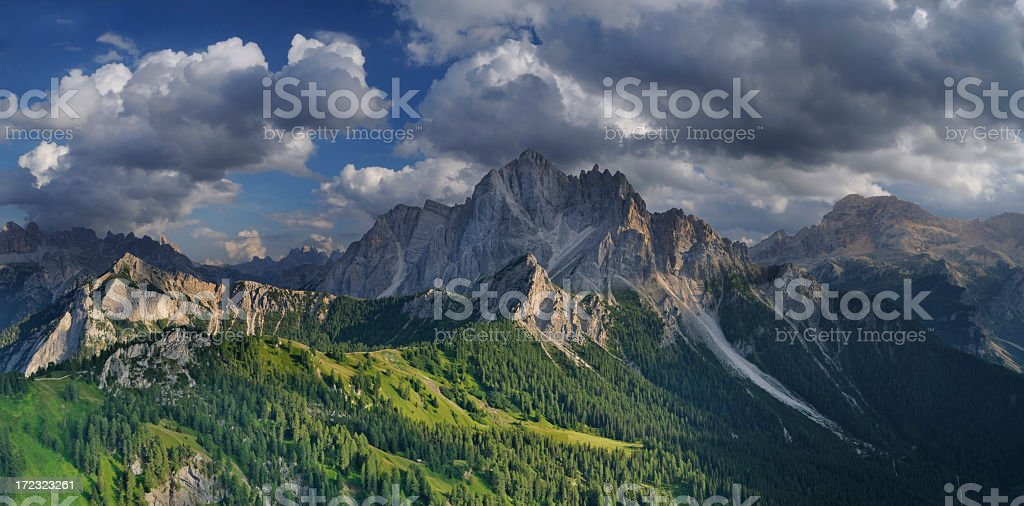 Brooding Storm over the Alps (Vallandro Peak - Durrenstein, Italy) stock photo