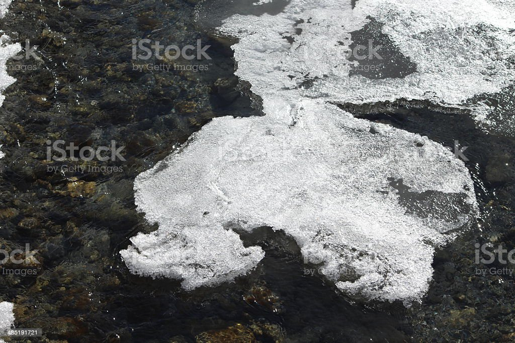 Brook with Ice Crystals, Alpine Winter Scenery royalty-free stock photo