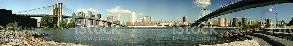 Brooklyn and Manhattan Bridge Panorama royalty-free stock photo