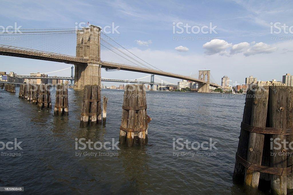 Brooklyn and Manhattan Bridge royalty-free stock photo