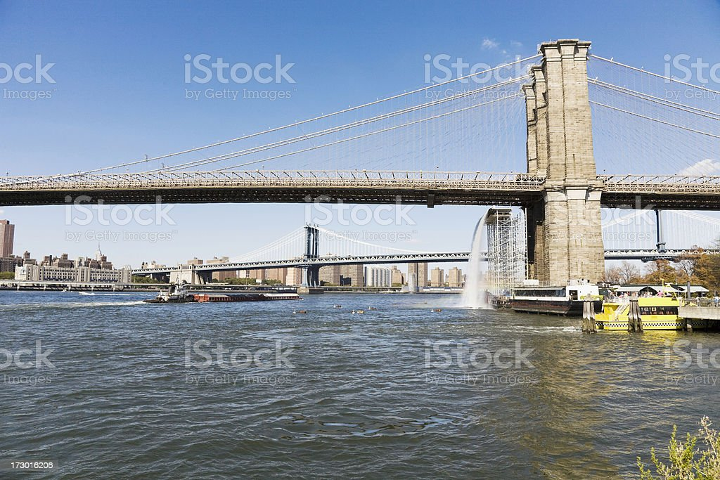 Brooklyn and Manhattan Bridges royalty-free stock photo
