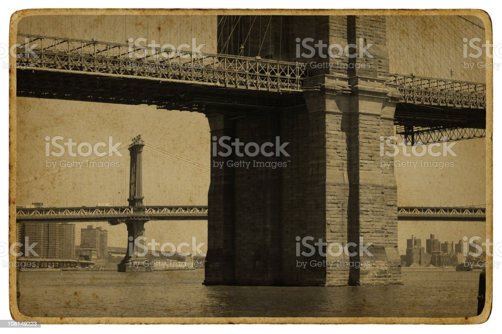 Brooklyn and Williamsburg Bridges with Aged Postcard Look stock photo