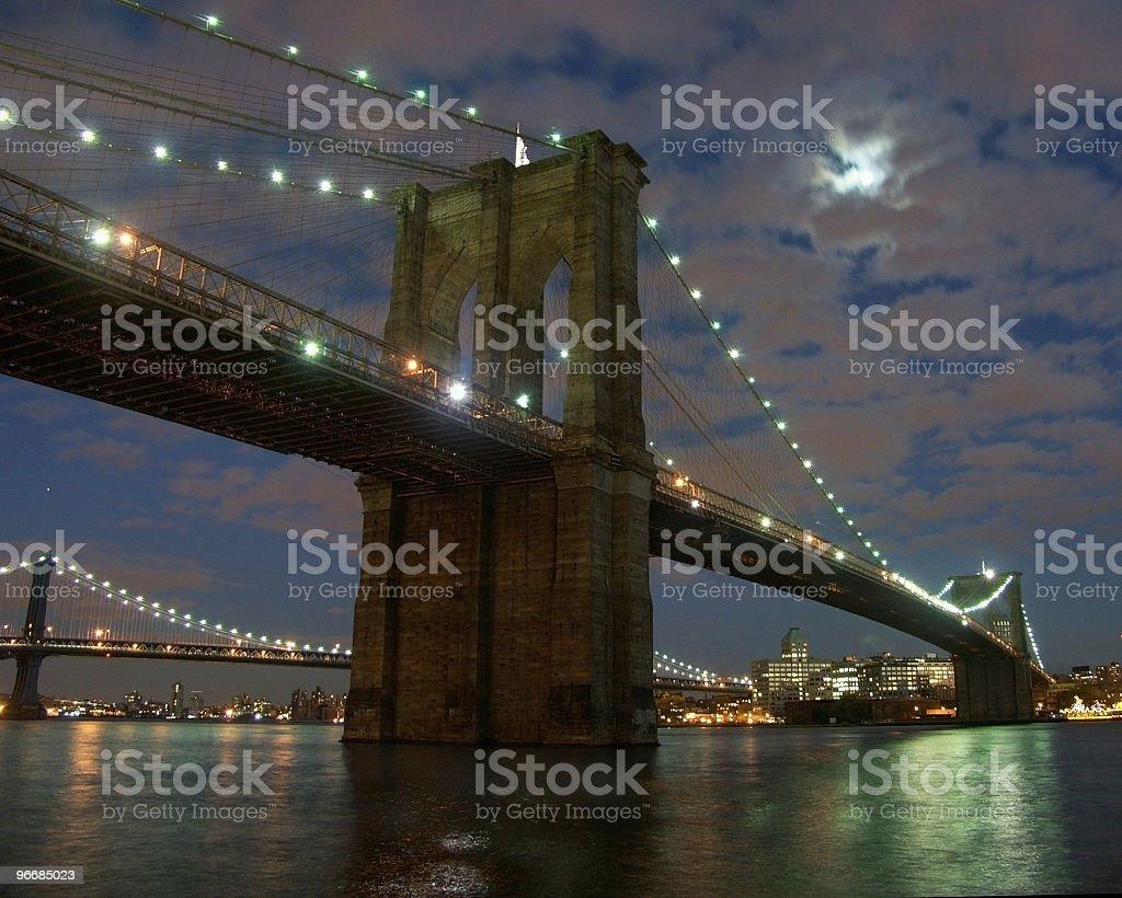 Brooklyn Birdge at Night royalty-free stock photo