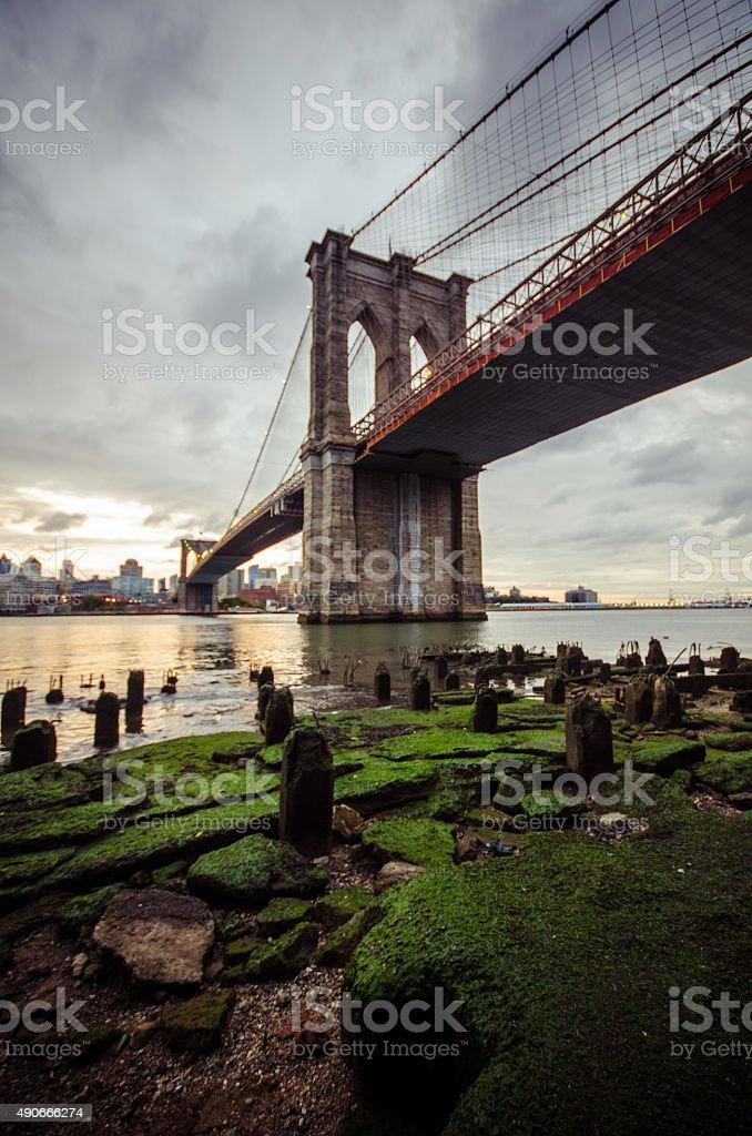 Brooklyn bridge after rain royalty-free stock photo