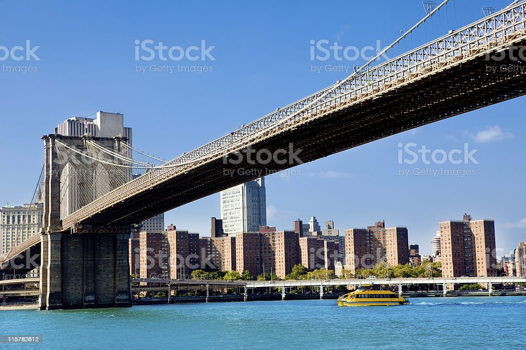 Brooklyn bridge against clear blue sky by day royalty-free stock photo