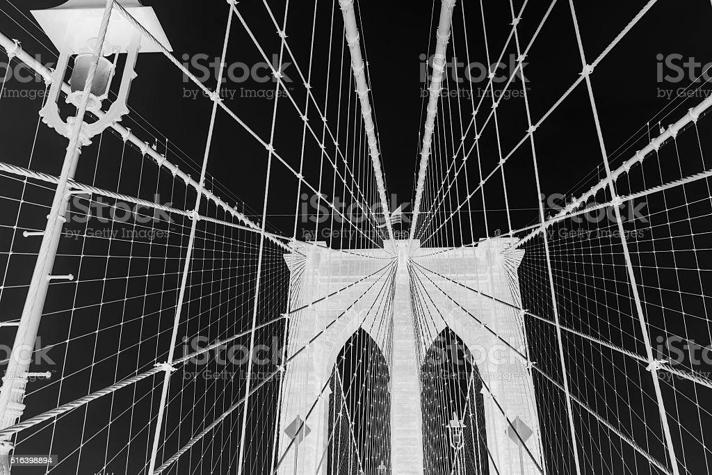 Brooklyn Bridge against sky black and white invert stock photo