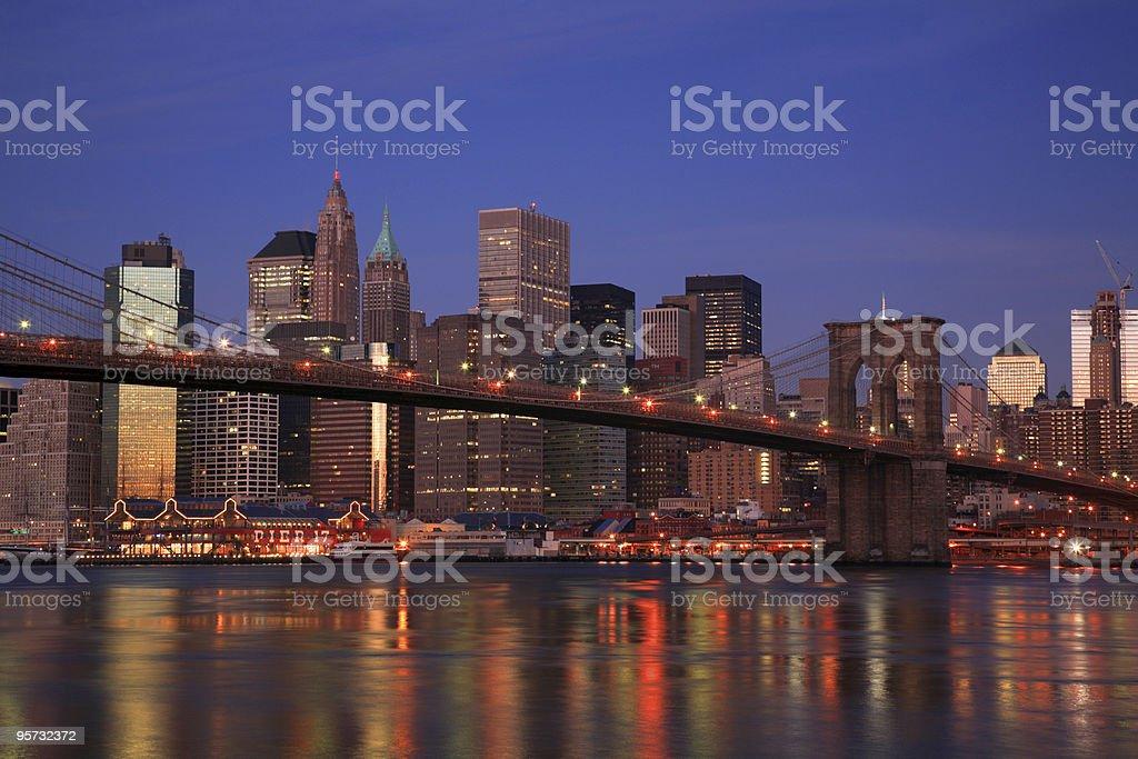 Brooklyn Bridge against the Manhattan skyline, New York City royalty-free stock photo