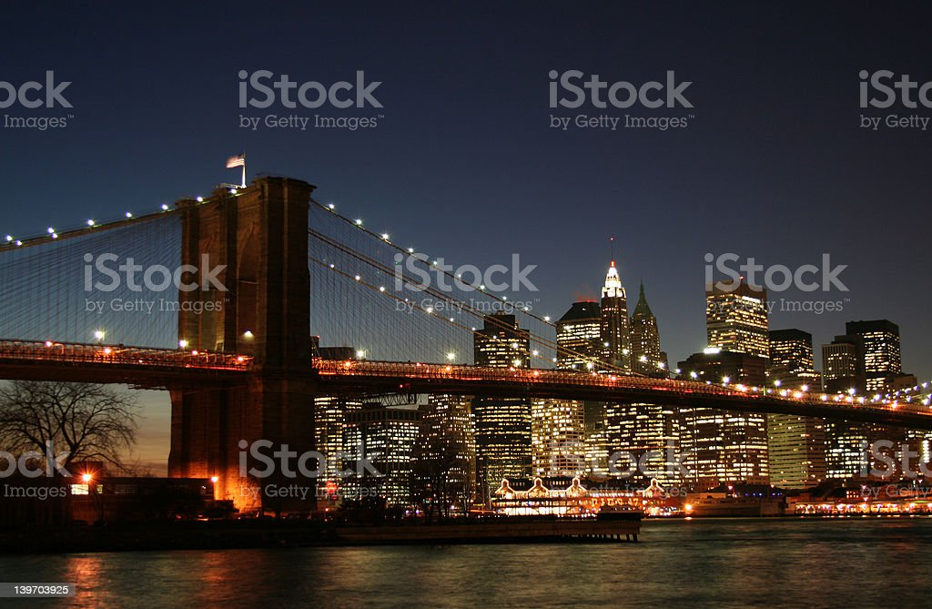Brooklyn Bridge and Downtown Manhattan, New York City royalty-free stock photo